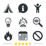 Tourist camping tent sign. Fire flame icons. Tourist camping tent icon. Fire flame and stop prohibition sign symbols. Information, light bulb and calendar icons Royalty Free Stock Photography
