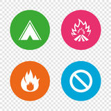 Tourist camping tent sign. Fire flame icons. Tourist camping tent icon. Fire flame and stop prohibition sign symbols. Round buttons on transparent background Stock Images