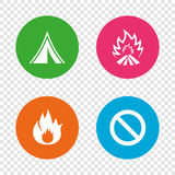 Tourist camping tent sign. Fire flame icons. Tourist camping tent icon. Fire flame and stop prohibition sign symbols. Round buttons on transparent background Stock Photo