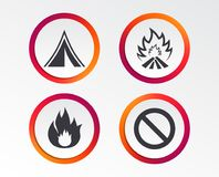 Tourist camping tent sign. Fire flame icons. Tourist camping tent icon. Fire flame and stop prohibition sign symbols. Infographic design buttons. Circle Royalty Free Stock Image