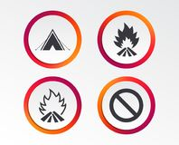 Tourist camping tent sign. Fire flame icons. Tourist camping tent icon. Fire flame and stop prohibition sign symbols. Infographic design buttons. Circle Royalty Free Stock Photo