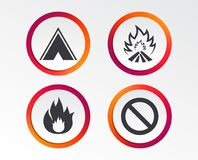 Tourist camping tent sign. Fire flame icons. Tourist camping tent icon. Fire flame and stop prohibition sign symbols. Infographic design buttons. Circle Stock Image
