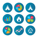 Tourist camping tent signs. Fire flame icons. Business pie chart. Growth curve. Presentation buttons. Tourist camping tent icons. Fire flame sign symbols. Data Stock Images