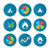 Tourist camping tent signs. Fire flame icons. Business pie chart. Growth curve. Presentation buttons. Tourist camping tent icons. Fire flame sign symbols. Data Royalty Free Stock Images