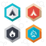 Tourist camping tent signs. Fire flame icons. Hexagon buttons. Tourist camping tent icons. Fire flame sign symbols. Labels with shadow. Vector Royalty Free Stock Images