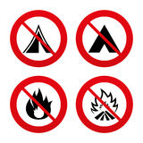Tourist camping tent signs. Fire flame icons. No, Ban or Stop signs. Tourist camping tent icons. Fire flame sign symbols. Prohibition forbidden red symbols Stock Images