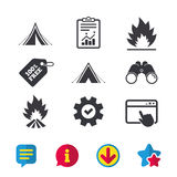 Tourist camping tent signs. Fire flame icons. Tourist camping tent icons. Fire flame sign symbols. Browser window, Report and Service signs. Binoculars Stock Photos