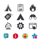 Tourist camping tent signs. Fire flame icons. Tourist camping tent icons. Fire flame sign symbols. Browser window, Report and Service signs. Binoculars Stock Photo