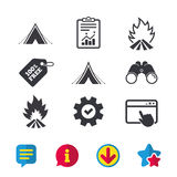 Tourist camping tent signs. Fire flame icons. Tourist camping tent icons. Fire flame sign symbols. Browser window, Report and Service signs. Binoculars Royalty Free Stock Images