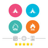 Tourist camping tent signs. Fire flame icons. Tourist camping tent icons. Fire flame sign symbols. Calendar, cogwheel and report linear icons. Star vote ranking Royalty Free Stock Images