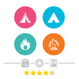 Tourist camping tent signs. Fire flame icons. Tourist camping tent icons. Fire flame sign symbols. Calendar, cogwheel and report linear icons. Star vote ranking Stock Photos