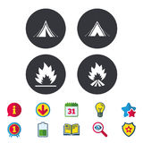Tourist camping tent signs. Fire flame icons. Tourist camping tent icons. Fire flame sign symbols. Calendar, Information and Download signs. Stars, Award and Stock Image