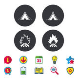 Tourist camping tent signs. Fire flame icons. Tourist camping tent icons. Fire flame sign symbols. Calendar, Information and Download signs. Stars, Award and Royalty Free Stock Images