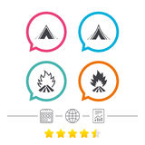 Tourist camping tent signs. Fire flame icons. Tourist camping tent icons. Fire flame sign symbols. Calendar, internet globe and report linear icons. Star vote Stock Photography