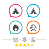 Tourist camping tent signs. Fire flame icons. Tourist camping tent icons. Fire flame sign symbols. Calendar, internet globe and report linear icons. Star vote Royalty Free Stock Images