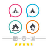 Tourist camping tent signs. Fire flame icons. Tourist camping tent icons. Fire flame sign symbols. Calendar, internet globe and report linear icons. Star vote Stock Images
