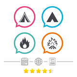 Tourist camping tent signs. Fire flame icons. Tourist camping tent icons. Fire flame sign symbols. Calendar, internet globe and report linear icons. Star vote Stock Image