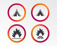 Tourist camping tent signs. Fire flame icons. Tourist camping tent icons. Fire flame sign symbols. Infographic design buttons. Circle templates. Vector Stock Images