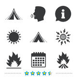 Tourist camping tent signs. Fire flame icons. Tourist camping tent icons. Fire flame sign symbols. Information, go to web and calendar icons. Sun and loud speak Stock Photos