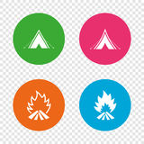 Tourist camping tent signs. Fire flame icons. Tourist camping tent icons. Fire flame sign symbols. Round buttons on transparent background. Vector Stock Photo