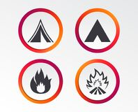 Tourist camping tent signs. Fire flame icons. Tourist camping tent icons. Fire flame sign symbols. Infographic design buttons. Circle templates. Vector Royalty Free Stock Images