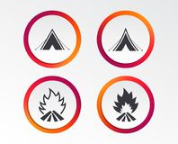 Tourist camping tent signs. Fire flame icons. Tourist camping tent icons. Fire flame sign symbols. Infographic design buttons. Circle templates. Vector Stock Image
