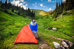 Tourist in Camping Tent Stock Images