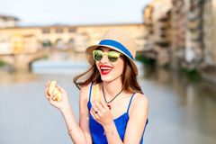 Tourist with cantuccini cookie in florence Royalty Free Stock Photography