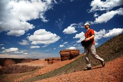 Tourist in canyon Royalty Free Stock Images