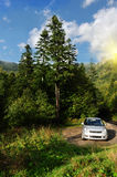 Tourist car parked in nature Royalty Free Stock Photography