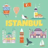 Tourist card with a set of famous Istanbul destinations and landmarks. Set of famous Istanbul destinations and landmarks royalty free illustration