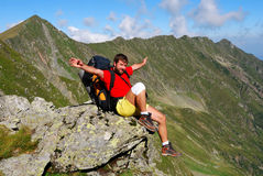 Tourist on Carpathian mountain trail Stock Image