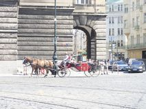 Tourist carriages in Prague Royalty Free Stock Photography