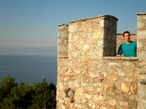 Tourist Castle Lake View. Tourist looking at the view from a castle tower in Ohrid stock image