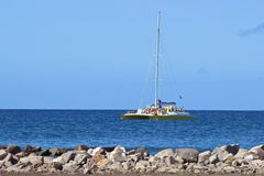Tourist catamaran in St Kitts, Caribbean Royalty Free Stock Images