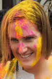 Tourist celebrate Holi or indian hindu festival of colors an annual event Royalty Free Stock Photos