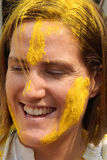 Tourist celebrate Holi or indian hindu festival of colors an annual event Stock Photos