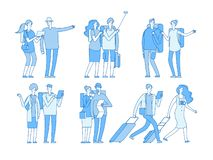 Tourist characters. People with suitcases bags holiday. European travel family in summer vacation travelling couple royalty free illustration