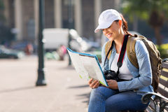 Tourist checking directions map Stock Images