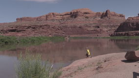 Tourist Checking Out the Colorado River Landscape stock video
