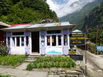 Tourist checkpoint in Dharapani, Nepal Royalty Free Stock Photo