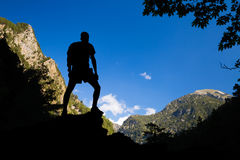 Tourist, climber or hiker celebrating inspirational landscape Royalty Free Stock Photography