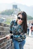 Tourist climbing the Great Wall of China Stock Photos