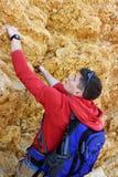 Tourist climbing outdoor wall Royalty Free Stock Photo