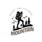 Tourist climbs the mountain symbol. Travel and expedition logo template stock illustration