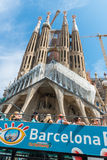 Tourist coach near Sagrada Familia in Barcelona Stock Images