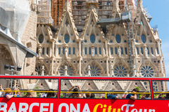 Tourist coach near Sagrada Familia in Barcelona Royalty Free Stock Photography