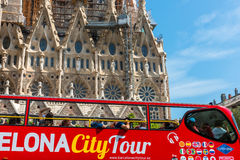 Tourist coach near Sagrada Familia in Barcelona Royalty Free Stock Image