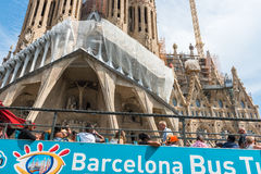 Tourist coach near Sagrada Familia in Barcelona Stock Photos