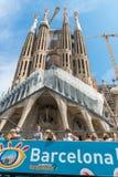Tourist coach near Sagrada Familia in Barcelona Stock Images